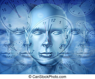 Business time management and financial appointment concept with a human face and surreal clocks floating as an icon of planning deadlines and due dates for jobs and work projects.
