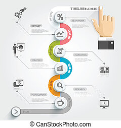 Business timeline infographic template. Vector illustration. can be used for workflow layout, banner, diagram, number options, web design.