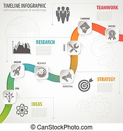Business Timeline Infographic with Paper Buttons, Icons and Steps. Vector Template.