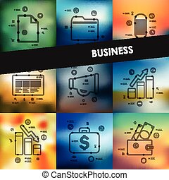 business timeline infographics with blurred background