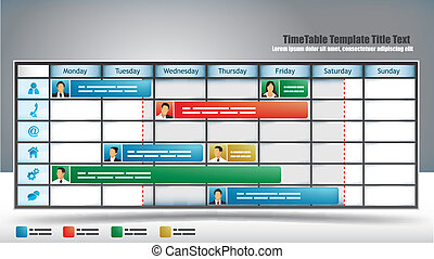 Business themed planner template with avatars and sliders