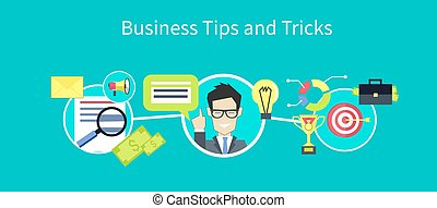 Business tips and tricks design. Tips icon, helpful tips, advice and hint, idea and tools, assistance support, suggestion and solution, help and guidance, consultation service illustration