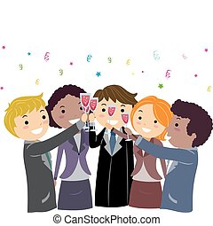 Business Toast - Illustration of Entrepreneurs Having a...