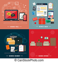 Business tools, interier, online, documents - Icons for...
