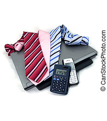 Business tools - Several bussiness tools on a white...