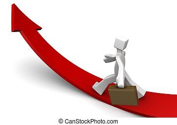 Business towards growing direction concept