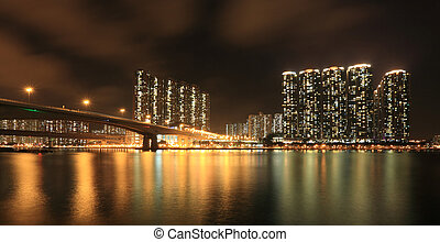 Business Towers and Residential Apartment Buildings in Hong Kong at night