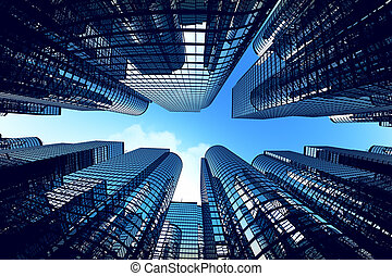 Business towers with fisheye lens effect. - Low angle shot ...