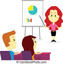 A business woman trainer coaching two employees about business in training/ developmet program (in Flat Cartoon Style)