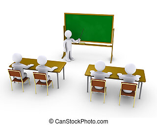 Business training as in school - Four 3d people as students...