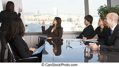 Business training - Businesspeople are discussing the work,...
