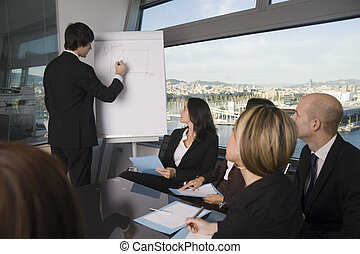 Business training - Businesspeople are discussing the work, ...