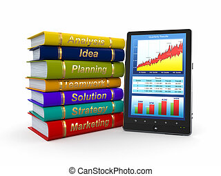 Business training. Economic book and tablet pc