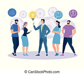 Man in Formal Suit Point on Light Bulb on White Background with Cogwheels Icons. Employees Listening and Interacting with Businessman. Business Training Sharing Idea. Cartoon Flat Vector Illustration