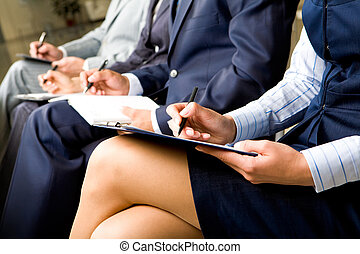 Business training - Photo of documents lying on business...