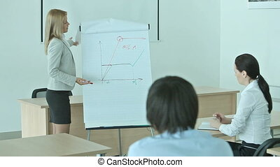 Business training - Pretty blonde presenting graphs and...