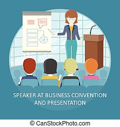 Business Training Vector Concept in Flat Design. - Business...