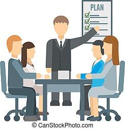 Business training vector illustration. - Speaker giving...