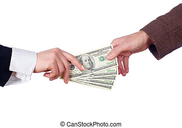 Business transaction. Isolated - Concept of two people...