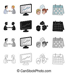 Business transaction, videoconference, schedule on the monitor, brainstorming, date in the calendar. Business conference set collection icons in cartoon black monochrome outline style bitmap symbol stock illustration web.