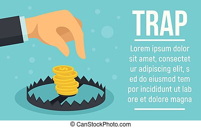 Business trap concept banner, flat style