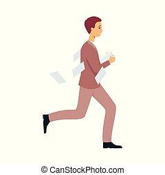 business, travail, ouvrier, tard, date limite, courant, papiers, perdre, hâte, ou, homme