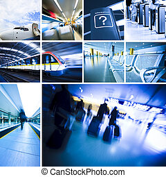 travel - business travel background about train and airplane...