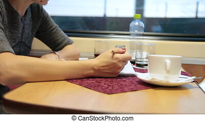 Business travel by a passenger train - Business woman...