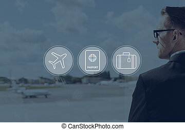 Business travel. Digitally composed icon set over a picture of businessman in airport