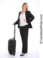 Business travel for beautiful young blonde woman