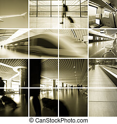 Business Travel Photo Collection, scene of the subway station and airport .