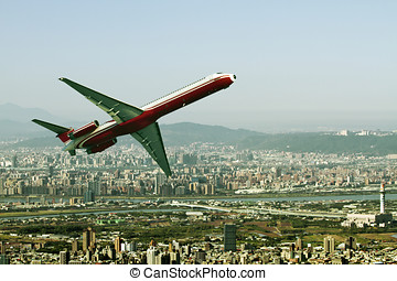 Business Travel - airplane fly through tiapei city,Business...