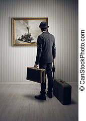 Business travel - Man with suitcases waiting for the train,...