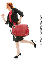 Business travel - Young redhead businesswoman (deaf with...