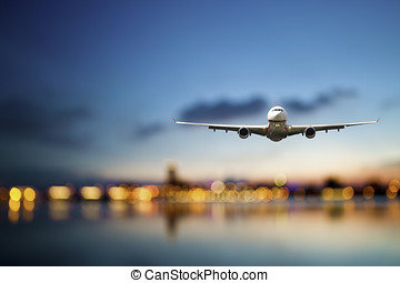 business travel - perspective view of jet airliner in flight...