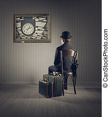 Business Travel - Business man sitting on old chair,...