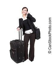 business travel - young attractive woman traveling with...