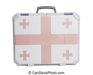 Business travel suitcase with Flag of Georgia