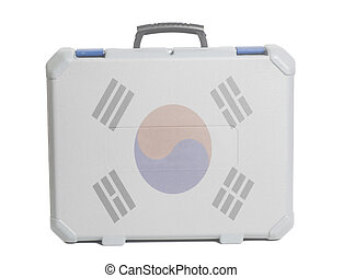 Business travel suitcase with South Korean Flag
