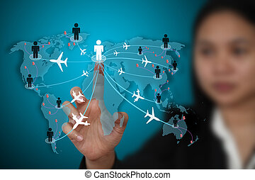 business travel transport concept - businesswoman making...