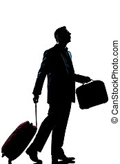 business traveler man lost looking up