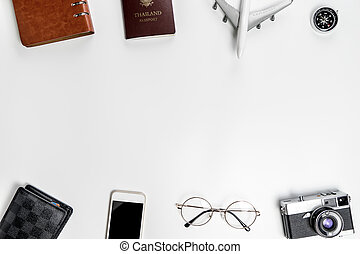 Business traveler objects on white with middle copy space