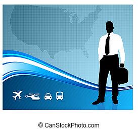 Business traveler on global communication background
