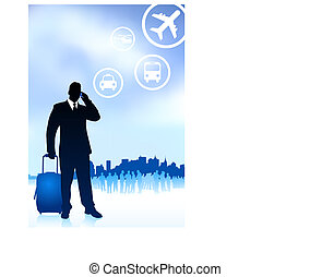 Business Traveler with City Skyline Original Vector Illustration Traveling Around The World Ideal for business concepts