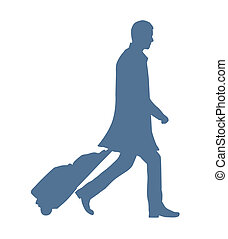 Business Traveller - Silhouette Of A Business Man Travelling...
