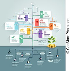 Business tree timeline infographics. Vector illustration. Can be used for workflow layout, banner, diagram, web design template.