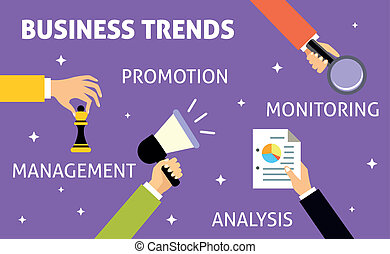 Hands gestures of business trends promotion management analysis monitoring vector illustration