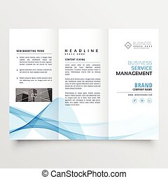 business tri-fold brochure design with blue abstract wavy shape