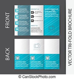 Business tri fold flyer template, corporate brochure or...