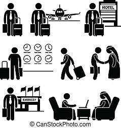 Business Trip Businessman Travel - A set of human pictogram...